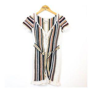 Cleobella Crochet Striped Belt Festival Dress XS